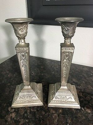 Vintage 2 Silver Metal Candlesticks Candle Holders Ram's Head Wreath Ribbon