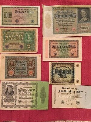 Lot of 8 German Money Reichsbanknotes  Marks Most 1920s Circulated