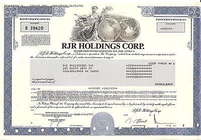 300sh 1989 OLD CANCELED STOCK CERTIFICATE RJR HOLDINGS CORP