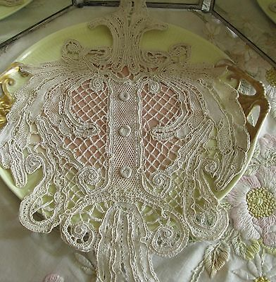 HAND MADE LACE PANEL FOR DECORATION, NEVER USED, 1800s VICTORIAN ANTIQUE, OOAK!