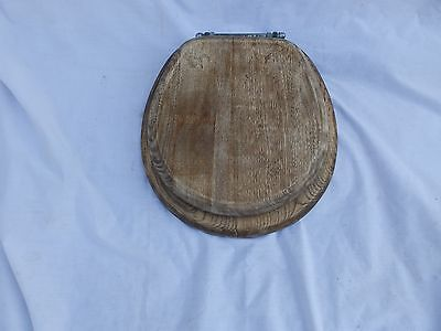 Antique Oak Toilet Seat Cover With Lid Nickel Brass Hardware Old Vtg 233-17P
