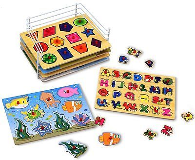 Puzzle Games For Toddlers Educational Knob Puzzles Storage Rack Kids 6-In-1 Set