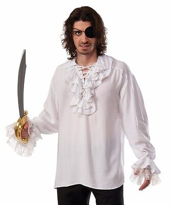 Ruffled Pirate Shirt - Plus Size XL - Renaissance Gothic Colonial Vampire White