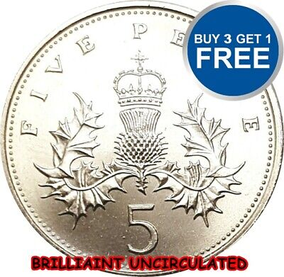 BRILLIANT UNCIRCULATED ENGLISH DECIMAL FIVE PENCE 5p COIN 1982 TO 2015