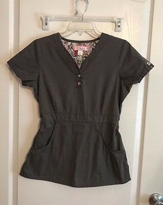 Womens Koi by Kathy Peterson Scrub Top Shirt Size S Small Gray Stretchy Waist