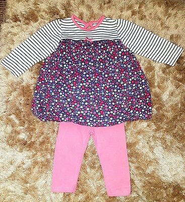 Baby Girls Pretty Pink White Outfit Leggings Top T-shirt Dress Size 6-9 Months
