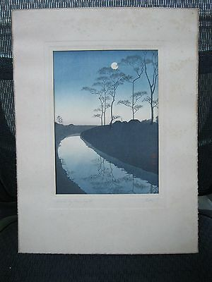 Old Shodo Koho Japanese Woodblock Print - Canal by Moonlight