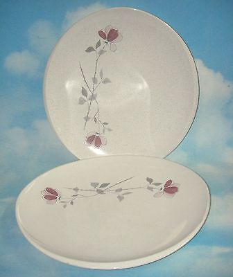 Lot/2 Franciscan DUET dinner plate 11-7/8 ROSES ON SPECKLEWARE California USA