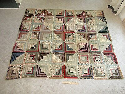 Antique 19th C Hand Sewn Applique Log Cabin York PA Patchwork Decorated Quilt