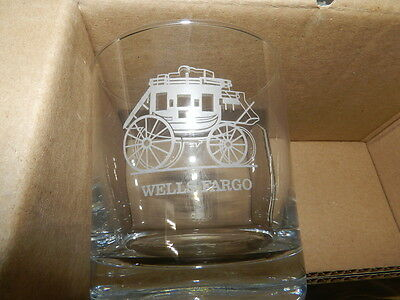 Wells Fargo  Stagecoach 11 oz  Clear Glass Tumblers  Set of 4 With Box