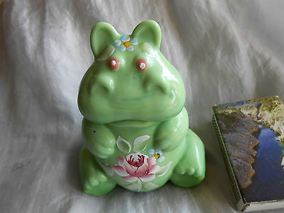 Fenton Chameleon Green Handpainted Solid Glass Hippo - signed  -