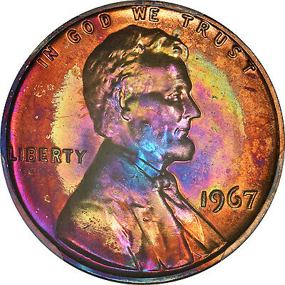 1967 Lincoln cent PCGS SP66RB SMS Toner!!