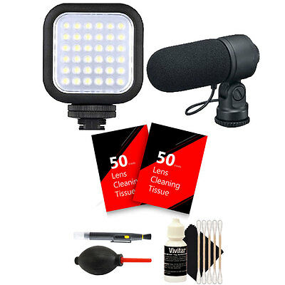 Compact LED Light +  Microphone for Canon DSLR Cameras