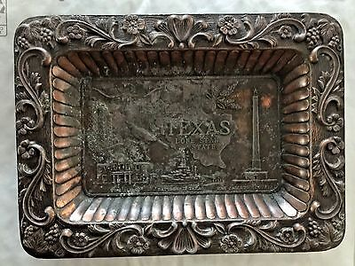 Texas Lone Star State Commemorative Souvenir Metal Tray Made In Japan Coppertone