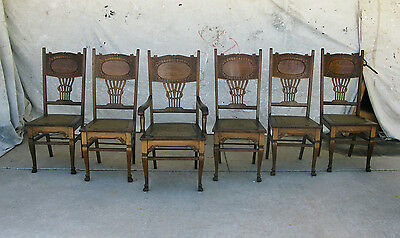 Antique Set of Six Hand Carved Matching Solid Oak Dining Chairs