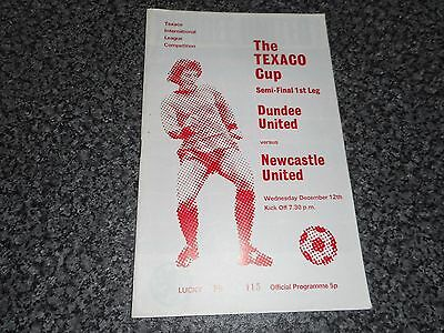 DUNDEE UNITED  v  NEWCASTLE UNITED  1973/4  TEXACO CUP SEMI - FINAL WITH COVER