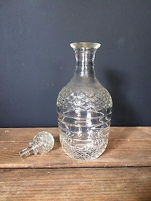 Antique Cut Crystal Glass Decanter With Crystal Top
