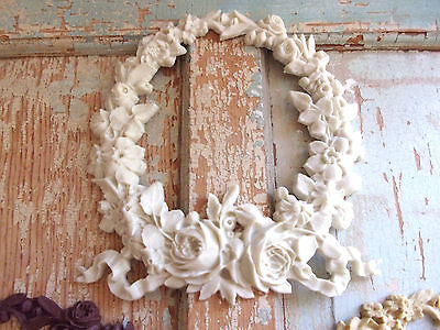 SHABBY n CHIC ROSE WREATH FURNITURE APPLIQUE ONLAY ** NEW RESIN COLORS !
