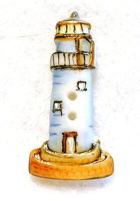 """Handcrafted Porcelain Button Realistic Lighthouse  1"""" x 1/2"""" FREE US SHIP"""
