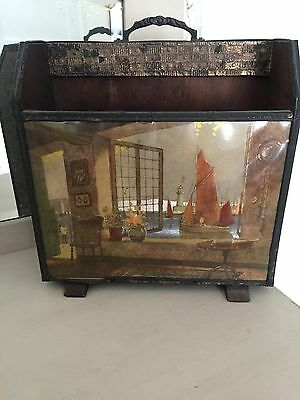 Vintage Mid Century Metal & Wood Newspaper Magazine Rack Box With Seaside Scene