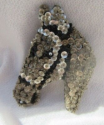 Beautiful Antique Padded Fabric & Sequins Art Deco Handmade Horse Pin Brooch