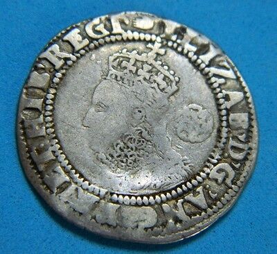 Tudor Period 1590 Elizabeth 1St Silver Sixpence Rose Beside Bust Mm Hand