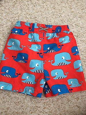 9-12 Month Swimming Trunks Baby Boy Red Whales M&S Marks And Spencer's