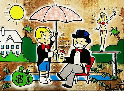 Alec Monopoly Banksy Oil Painting on Canvas Urban art Wall Decor Umbrella Cheers