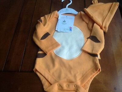 Disney Tigger Body Suit With Hat Size 3-6 Months