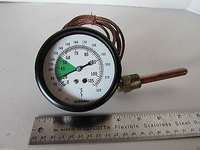 "3.25"" Marsh Temperature Gauge with Thermocouple Probe 1/2"" NPT B43 0-220F"