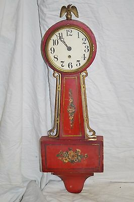 Antique Vintage Tole Painted Red Wood Clock H P Flowers Wall Eagle Usa
