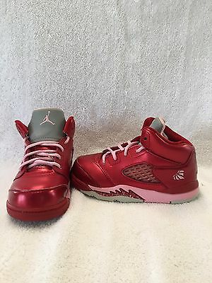 Nike Air Jordan 5 Retro Valentines Toddler Girls Red/pink Shoes~size 7 C