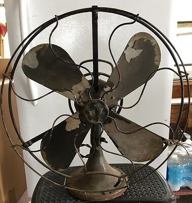 """Vintage 1930 GE Gray Bar 16"""" Electric Fan For Parts NR"""