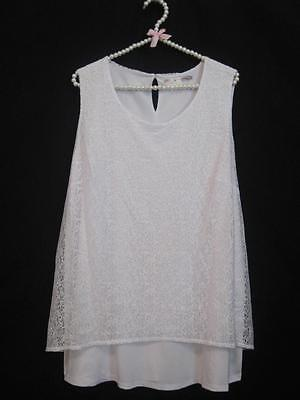 NEW ~ Summer White ~ Lace Stretch Knit Lined Swing Top Tunic Size 2X