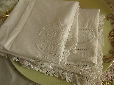 Pair Antique Victorian Pillow Overlay/cover, Huge Monograms By Hand, Knit Lace!