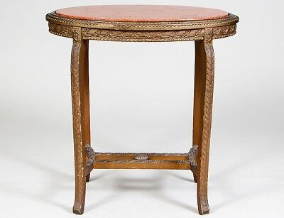 NEO-CLASSICAL STYLE MARBLE & GILTWOOD OVAL TABLE Lot 156