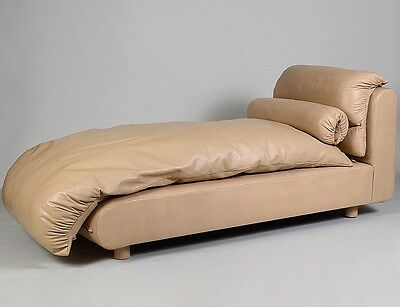 CONTEMPORARY BEIGE LEATHER UPHOLSTERED DAYBED Lot 83