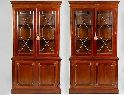 PAIR OF GEORGE III STYLE MAHOGANY BOOKCASE CABINETS Lot 150