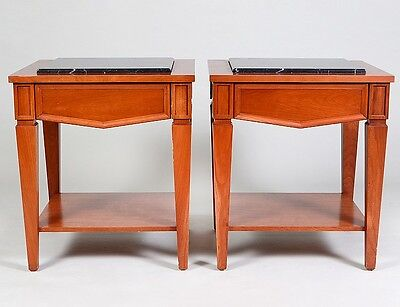 PAIR OF MARBLE INSET CHERRY WOOD TABLES Lot 225