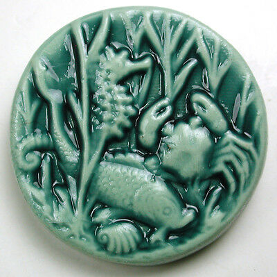 Handcrafted Art Stone Button sea Life Scene FREE US SHIPPING