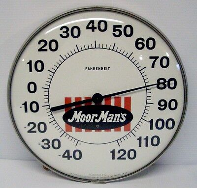 """Vintage MoorMan's Feed Quincy, Ill. 12"""" Ohio Thermometer Co Working Thermometer"""