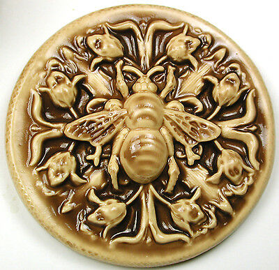 Handcrafted Art Stone Button Lg Bee w/ Flowers FREE US SHIPPING 2 & 1/16