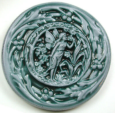 """Handcrafted Art Stone Button Fairy Smells Flower Scene FREE US SHIPPING 1 & 3/4"""""""