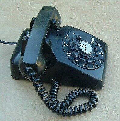 Vintage Bakelite Bell System Western Electric Rotary Dial Desk Telephone Black