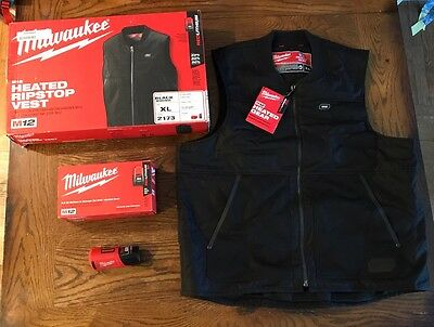 New Milwaukee 2173 M12 Heated Ripstop Vest Kit - Black - XL