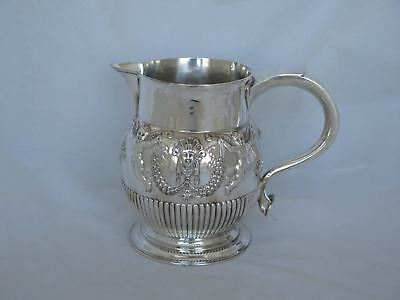 Fantastic Antique English Sterling Repousse Figural Water Pitcher