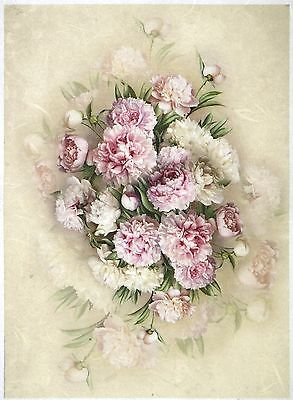Rice Paper for Decoupage Scrapbook Craft Sheet A/3 Bouquet of Peony
