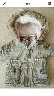 Boys Khaki Thick Winter Coat With Fur Hood 18-24 Managing Months F&F