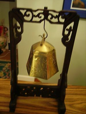 Antique Early 1900's  Chinese Temple Brass Bell Rosewood Stand Oriental Bird EXC