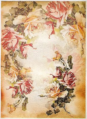 Rice Paper for Decoupage Scrapbook Craft Sheet A/3 Roses Wreath
